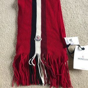 Moncler Scarf Red Unisex 100% Wool